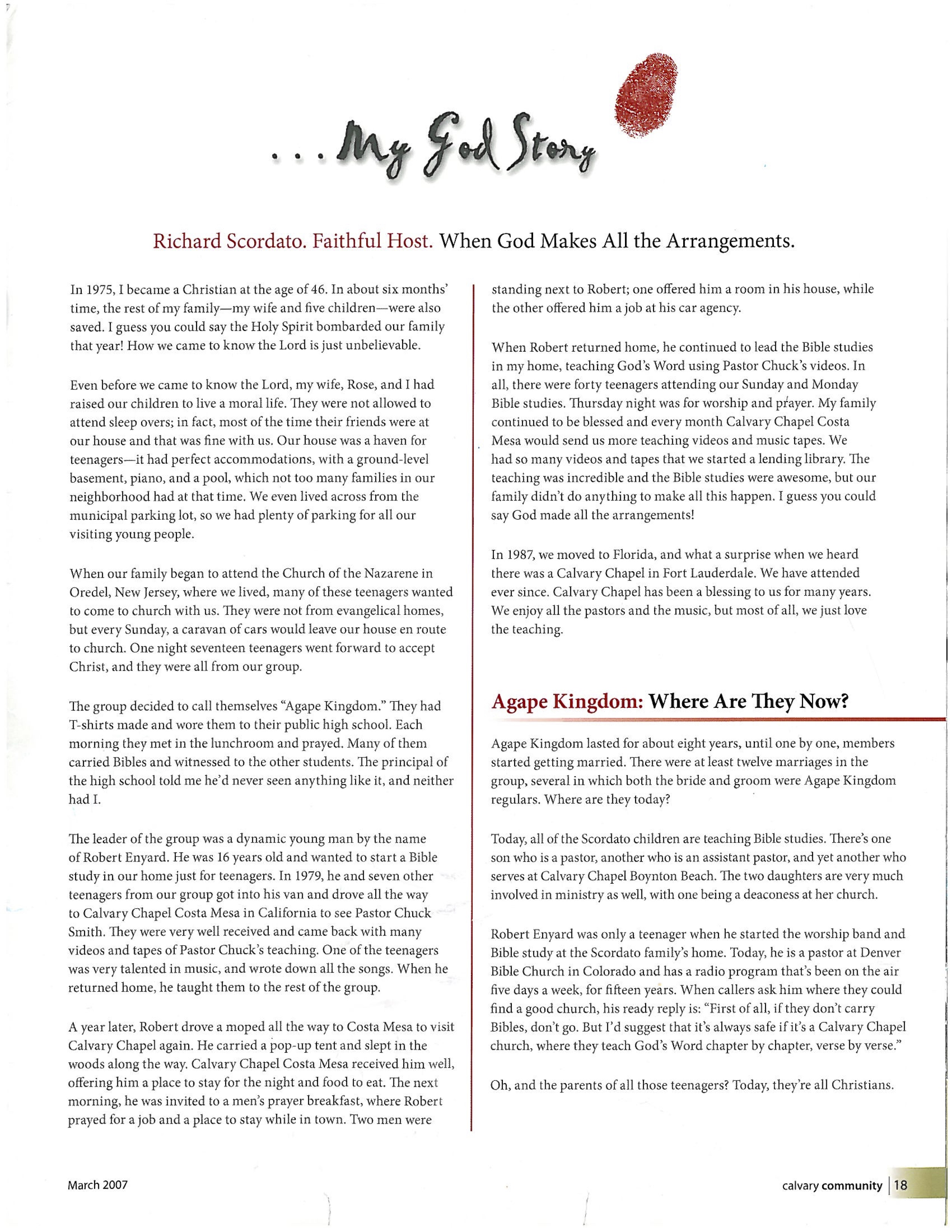 Ft. Lauderdale Florida Calvary ChapelMagazine back page about Bob's ministry as a teenager