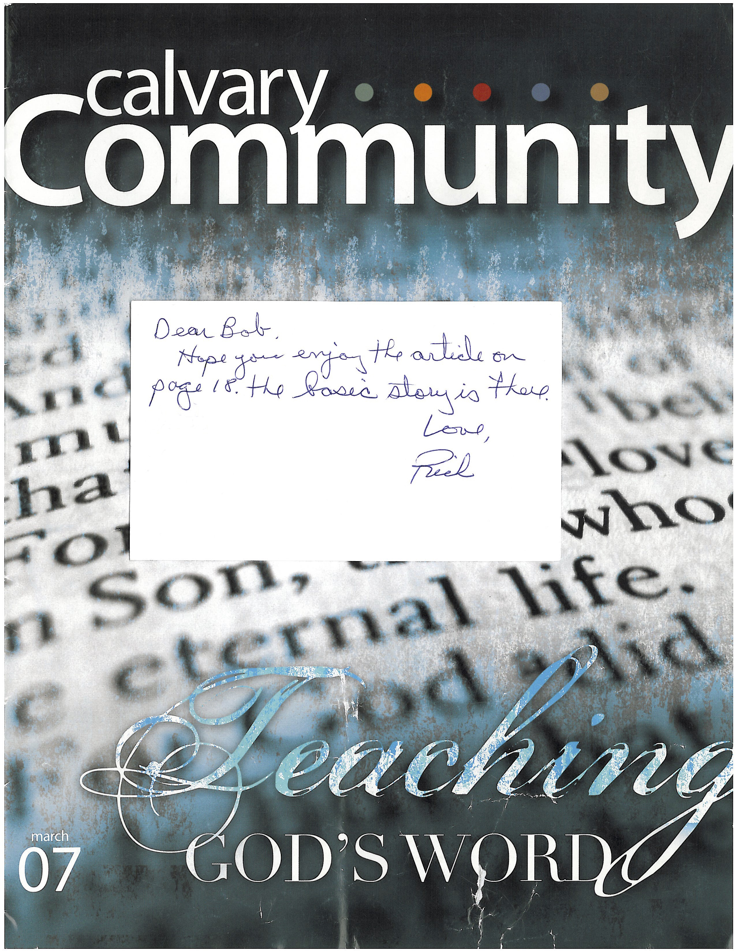 Ft. Lauderdale Florida Calvary Chapel Magazine cover with note to Bob from Rich Scordato