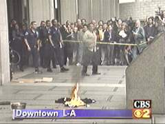 OJ Simpson memorabilia and jerseys being burned by radio host Bob Enyart