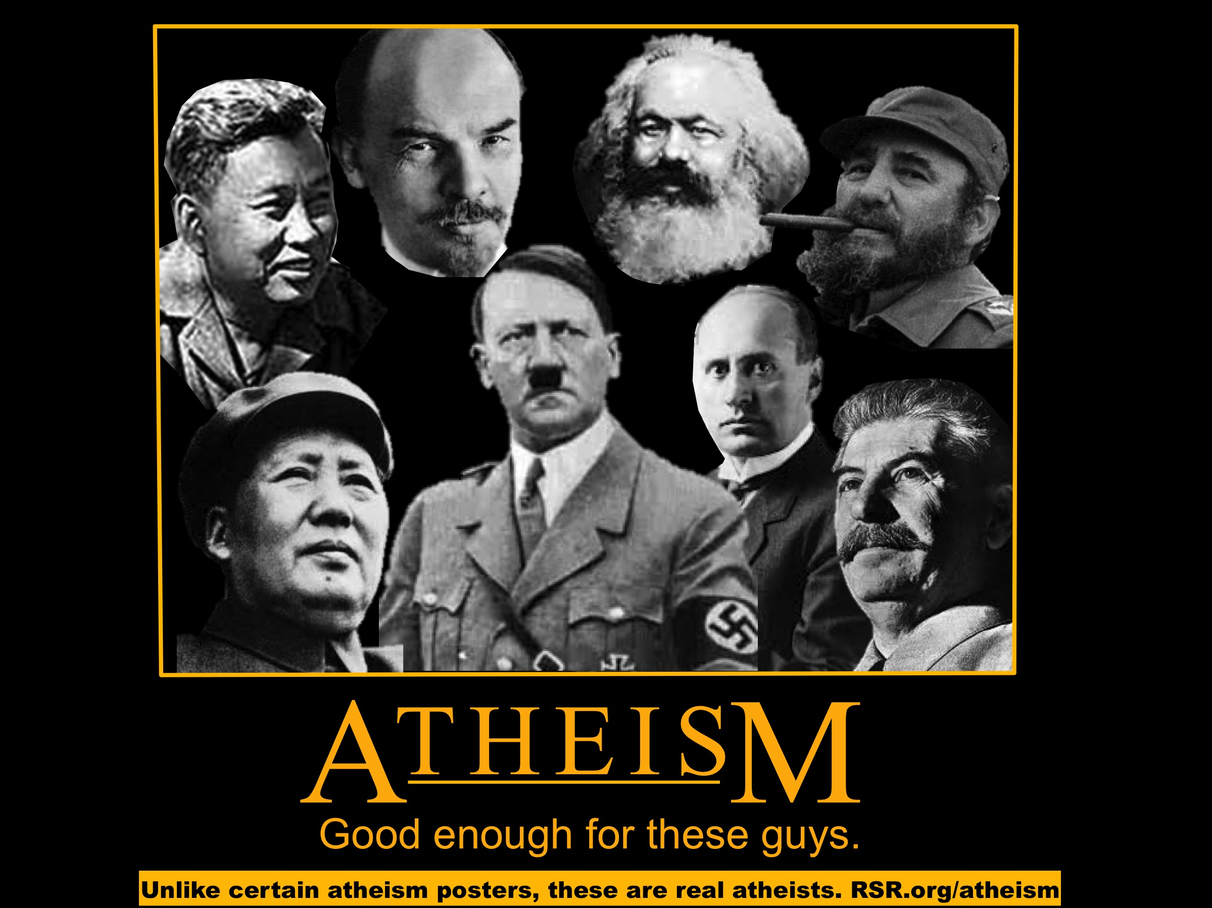 atheism poster inspired by Ray Comfort's Evolution vs. God