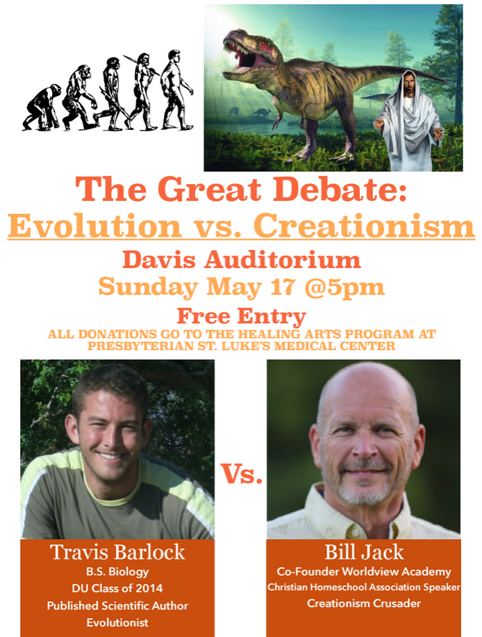 University of Denver creation evolution debate poster