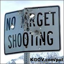 No Shooting sign all shot up