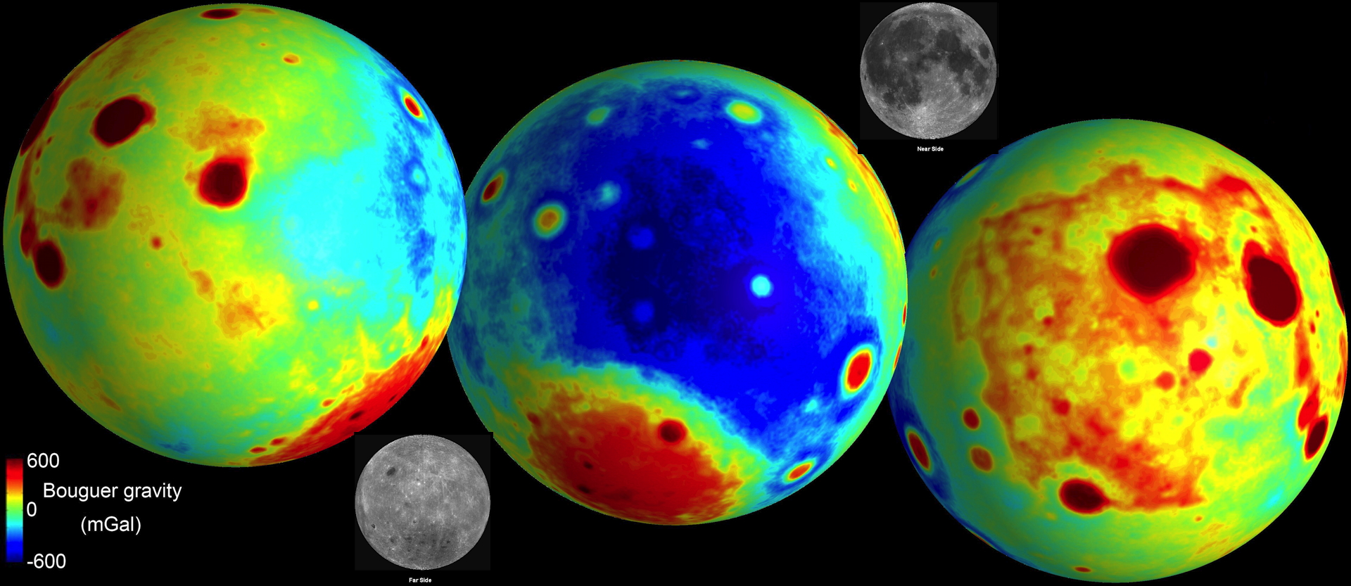 lunar bouger gravity map for near and far side of moon