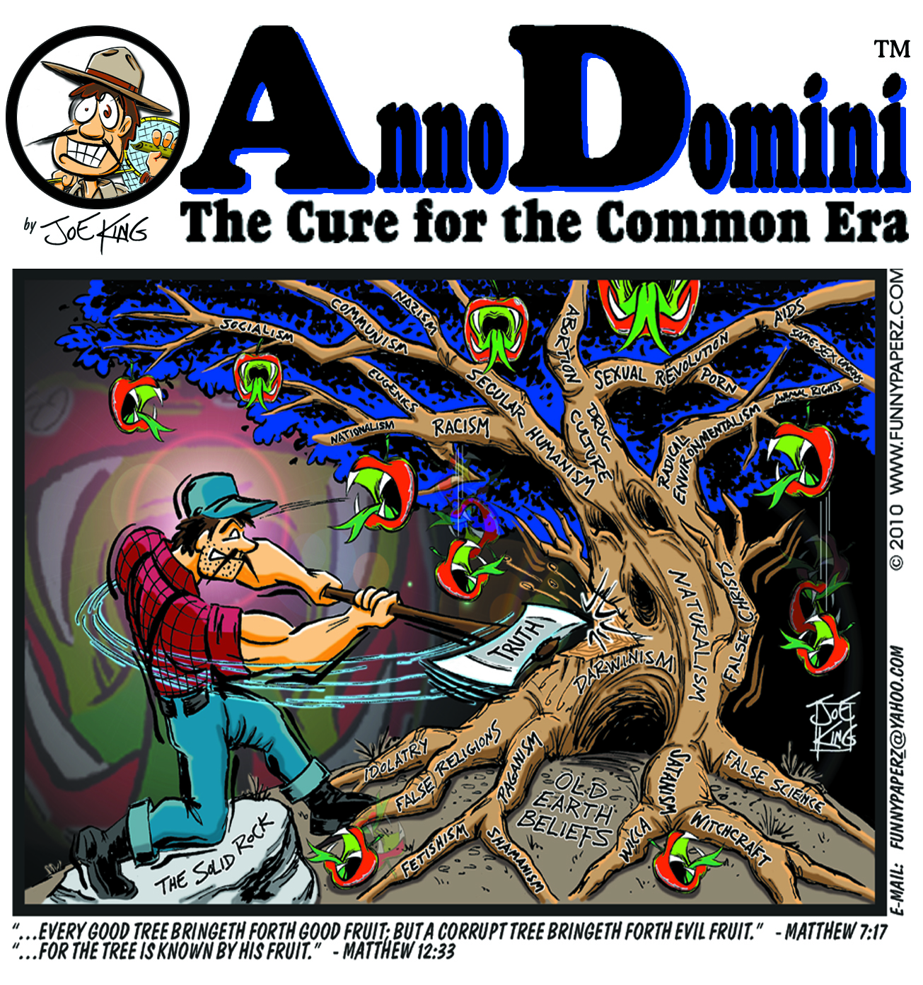 Joe King cartoon: Anno Domini: The Cure for the Common Era: The Tree (Darwinism)