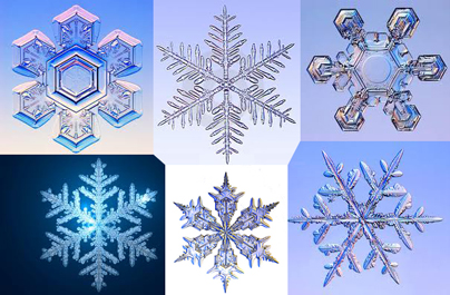 Snowflakes created through God's design of nature