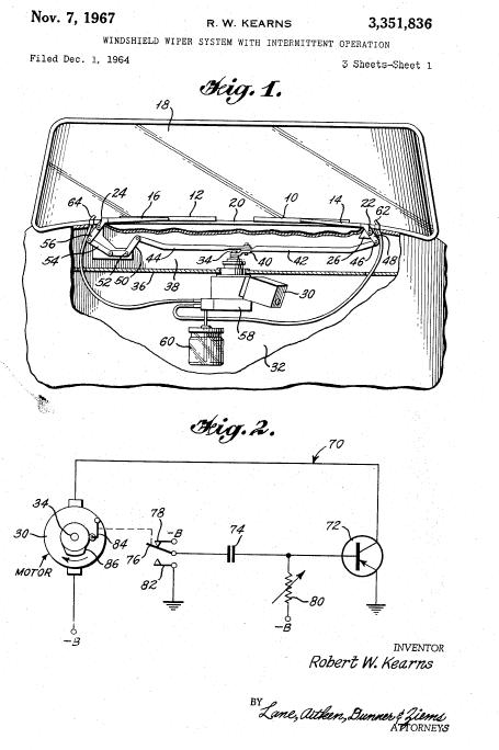 Kearns' original patent application