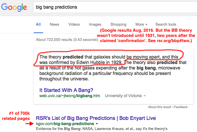Even Google's call-out on the big bang pre-dates it to the 1920s