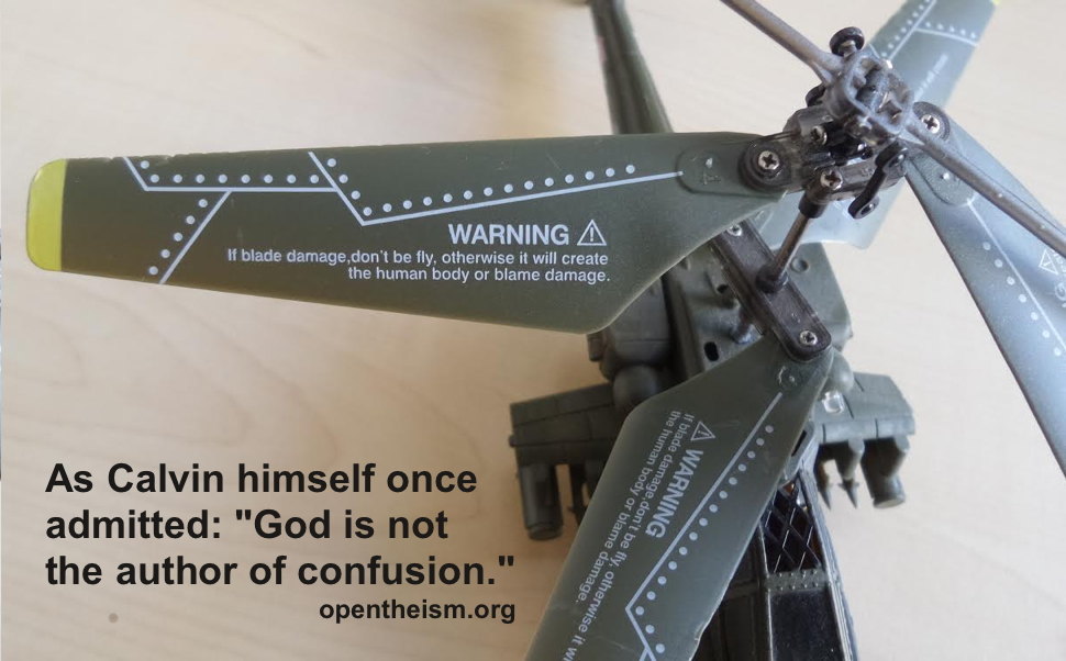 Photo of toy helicopter with confusing text on it, and the verse: God is not the author of confusion.