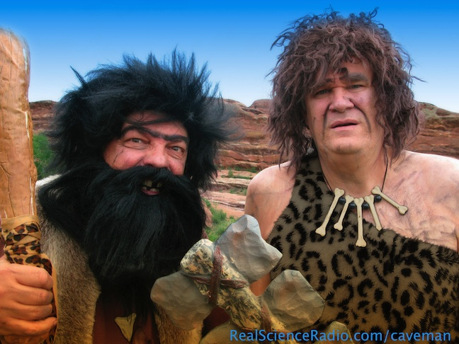 RSR hosts Bob & Fred as cavemen in a publicity shot for our rsr.org/cavemen radio program