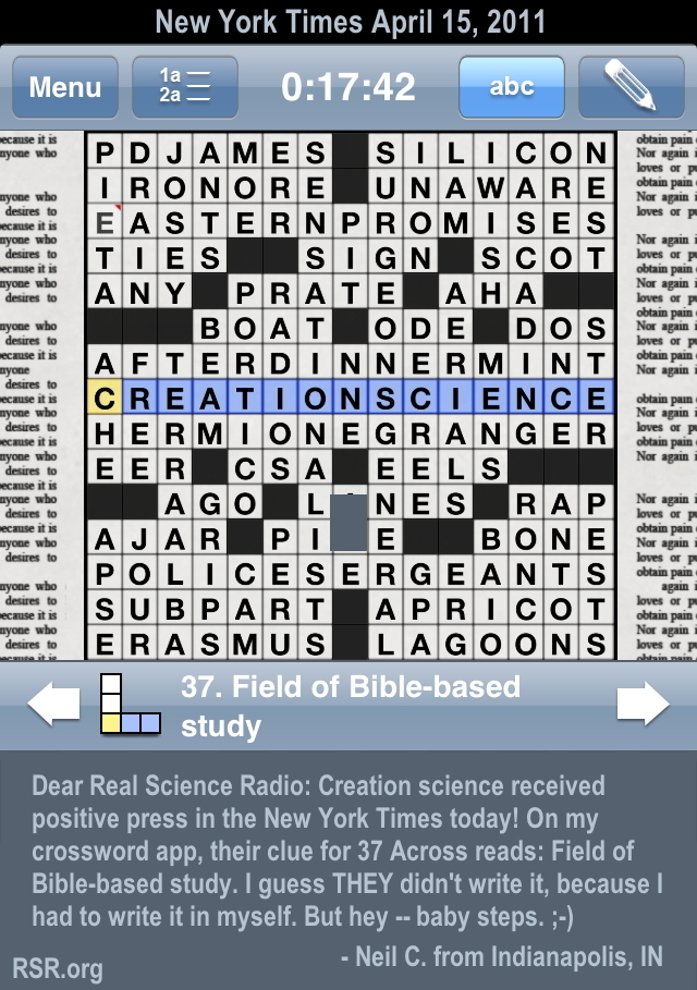 NY Times crossword puzzle uses word: creationscience