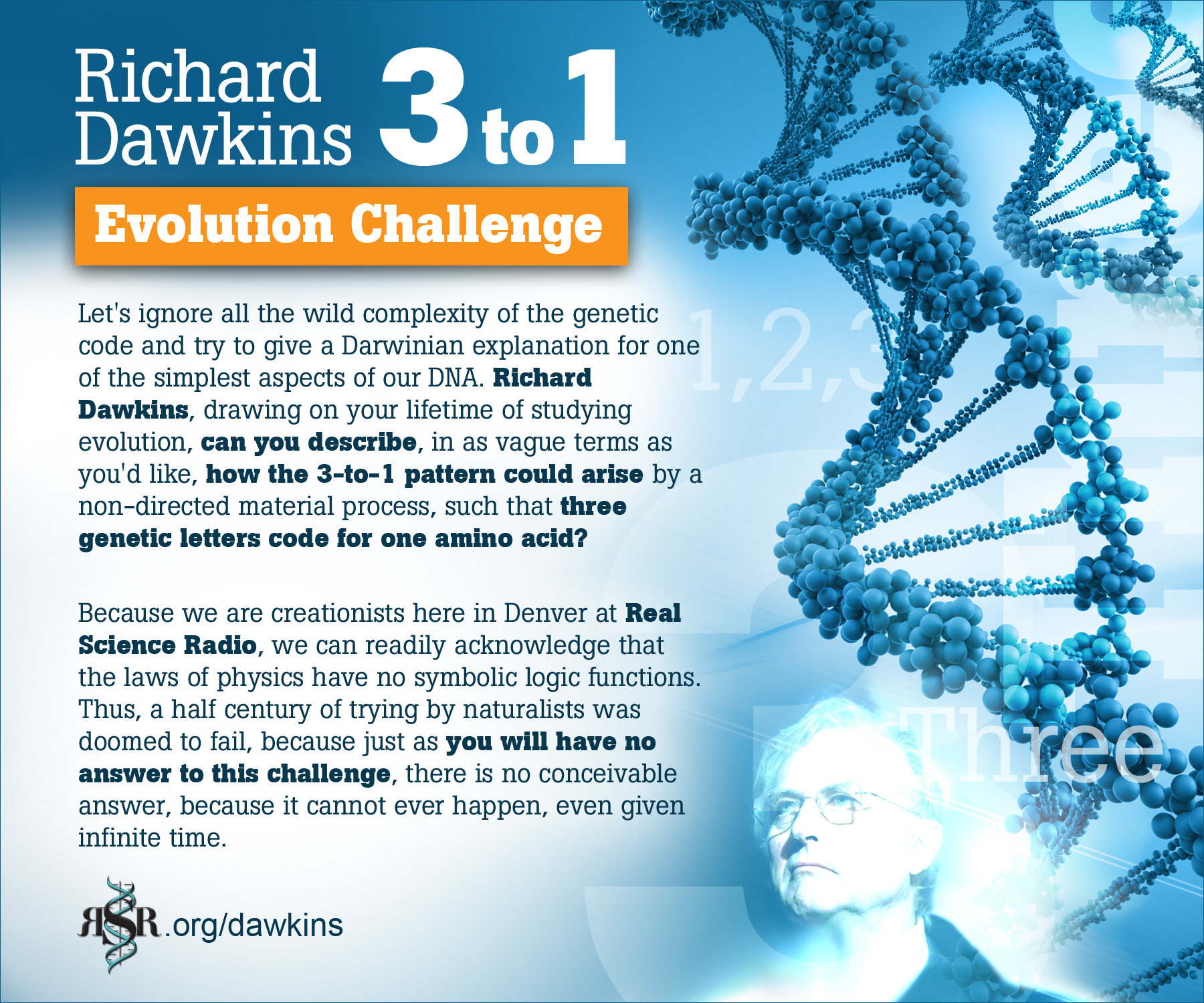 Bob Enyart's 3-to-1 DNA challenge to Richard Dawkins or any evolutionist