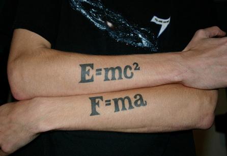 Equation tatoos: E=mc2 and F=ma