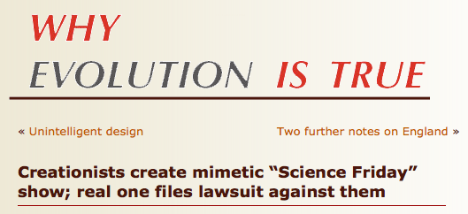 Screenshot from Coyne's blog...