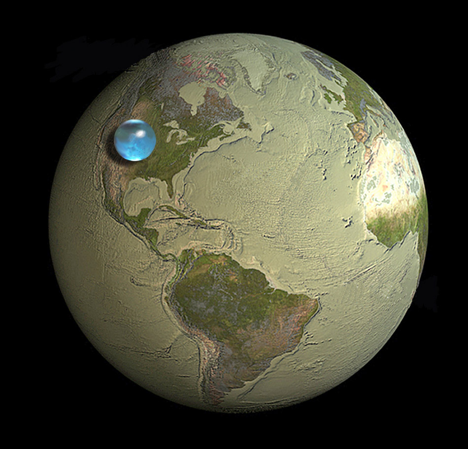 Image of the earth with all it's surface water in a sphere above North America