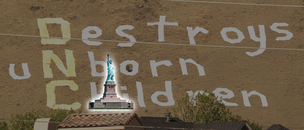 ARTL sign vs the statue of liberty